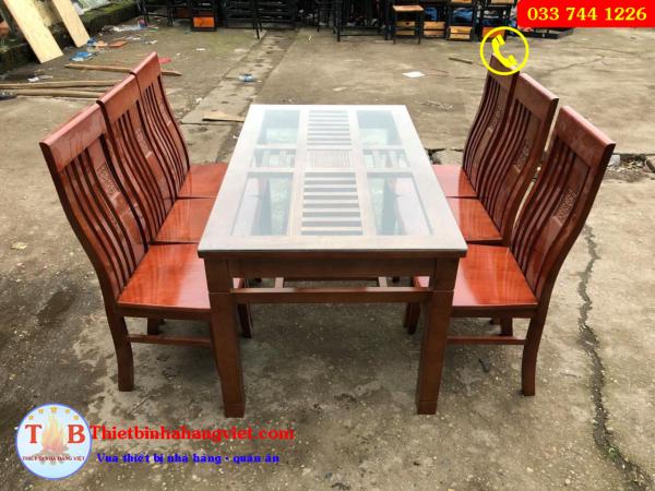 Bộ bàn ăn gia đình gỗ xoan giá rẻ