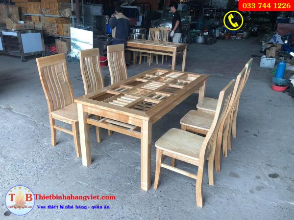 Bộ bàn ăn gỗ sồi cao cấp