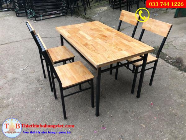 bàn ghế chân sắt mặt gỗ giá rẻ