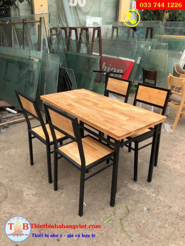 Bộ bàn ghế chân sắt mặt gỗ mặt liền